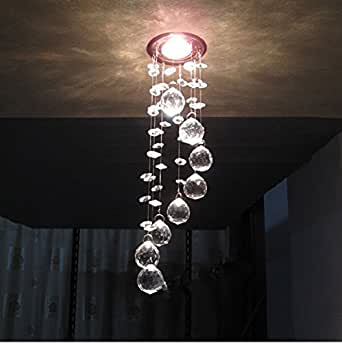 GENERIC Cool white light : Simple stainless steel crystal chandelier LED k9 crystal chandeliers bedroom living room dining Aisle chandelier 3W AC110-260V