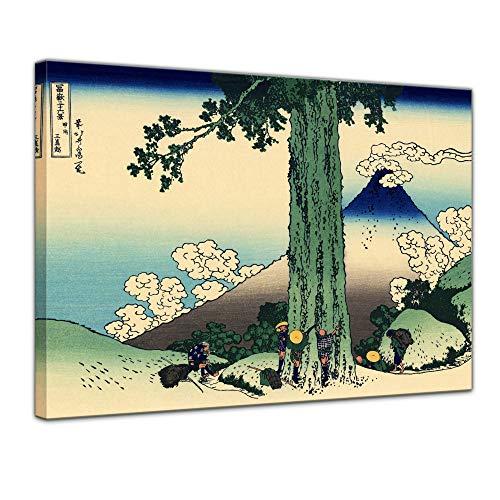 Leinwandbild Katsushika Hokusai Der Mishima-Pass in der Provinz Kai - 120x90cm quer - Wandbild Alte Meister Kunstdruck Bild auf Leinwand Berühmte Gemälde Dmp-serie