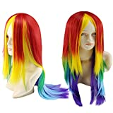 Perruque Naturelle Femme Angelof COS Reflets Cosplay Colour Rainbow Disco Deguisement Mode Grease Les Extensions