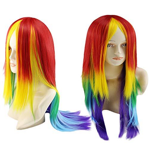 Maxpex Damenperücke, lang, gerade, ganz, für Regenbogenfarben, Cosplay, Halloween, Kostüm, Party, Kostüm, Perücke (70 Prominente Kostüm)