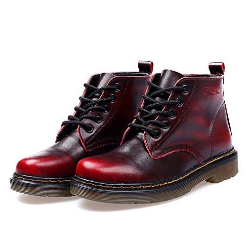 SITAILE Unisex-Erwachsene Bootsschuhe Derby Schnürhalbschuhe Kurzschaft Stiefel Winter Boots für Herren Damen Gefüttert-SchwarzRot