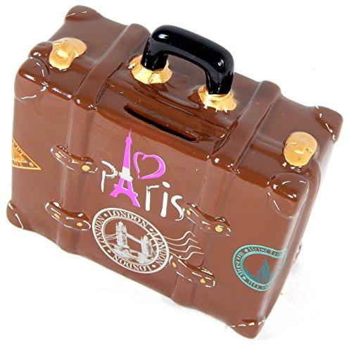 Preisvergleich Produktbild Spardose Reisekoffer braun London Paris Moskau Rom New York Ägypten lustige Sparbüchse im Koffer Design