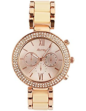 【Black Friday promotion] oumosi Damen Goldfarbene und rosa Keramik Armband Armbanduhr ceramic watch