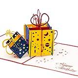 3D Geburtstagskarte - 2 bunte Geschenke - Pop up Karte