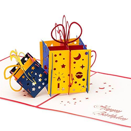 3D Geburtstagskarte - neue XXL Version, 2 bunte Geschenke - Pop up Karte, Glückwunschkarte Geburtstag, Grußkarte, Geschenkkarte als Gutschein oder für Geldgeschenk, Happy Birthday Card, Geburtstagskarten (Neue Kerzen Geburtstag)