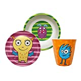 Gimex Kindergeschirrset Monster, Kindergeschirr Jungen & Mädchen 3-teilig, Spülmaschinenfest Kinderteller, Kinderschüssel & Kinderbecher | Kinder Geschirr Set Frühstücksset Melamin