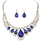 Quistal Women Rhinestone Crystal Necklace And Earring Set Jewelry Set (Blue)