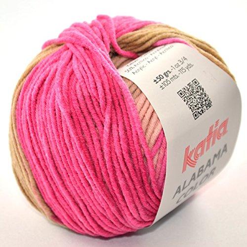 Katia Alabama Color Fb. 102 - rosas - Baumwollgarn mit Farbverlauf zum Stricken & Häkeln