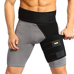 Yosoo Groin Support, Adjustable Groin Strain Pain Wrap Hamstring Support One Size Fits Most - Neoprene Brace with Stick Strap Fastener Slip Resistant