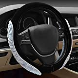 2018 Auto Lenkradbezug 3D Plüsch Sport Premium Auto Griff, black white