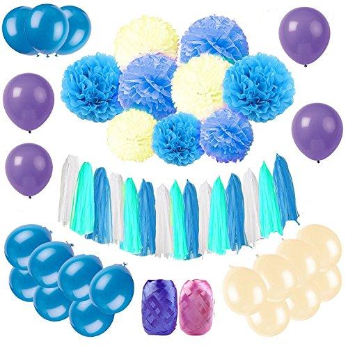 e Papier Pom, 9 Papier Blumen, 15 Quasten Girlande Quaste, 30 Latex Ballons, 1 Polka Dot Papier Girlande für Geburtstag, Hochzeit, Party, Baby Shower (Blau) (Polka Dot Papier)