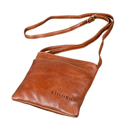 STILORD 'Lana' kleine Umhängetasche Damen Ausgehtasche Schultertasche Handtasche echtes Büffel Leder Vintage Design, Farbe:Cognac - glänzend