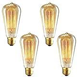 Litehaus 4 Retro Glühbirne für Deckenleuchte Pendelleuchte Leuchtmittel Industria Filament ST64 Schmucklampe 40W E27 Classic Klar Lampenfassung Vintage Edison Design Glühlampen DIY Antike Beleuchtung (4 Stück)