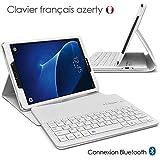 Seluxion - Etui de Protection Blanc avec Clavier Azerty Connexion Bluetooth Pour Tablette Samsung Galaxy Tab 7 Pouces [Modèle Samsung Galaxy Tab 7 SM-T280 / Sm-T285. Dimensions 107.9 x 186,9 x 8.1 mm]