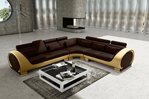 SAM Ecksofa Vigo Combi 4, braun / creme, Couch aus Kunstleder, 303x266 cm links