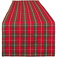 Dibor Plaid Table Runner - Red/Green Tartan Washable 100% Cotton Table Cloth - L140cm