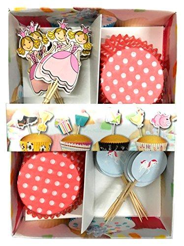 48-teiliges Muffin und Cupcake Deko Set – Prinzessin und Einhorn