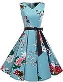 bridesmay 1950er Vintage Rockabilly V-Ausschnitt Kleid Retro Cocktailkleid Schwingen Kleid Faltenrock Floral M