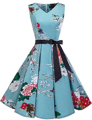 bridesmay 1950er V-Ausschnitt Kleid Vintage Cocktailkleid Rockabilly Retro Schwingen Kleid Faltenrock Floral M