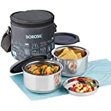 Borosil Carry Fresh Stainless Steel Insulated Lunch Box Set of 2, 280ml, Grey