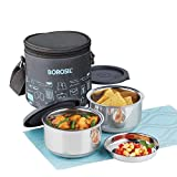 Borosil Carry Fresh Stainless Steel Insulated Lunch Box Set, 280ml, Set of 2