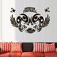 zzlfn3lv Wall Decal American Football Rugby Sport Helmet Play Man Ball rugby kids 38x57cm