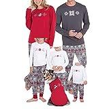 Cassiecy Weihnachten Familie Pyjamas Set Langarm Schneeflocke Nachtwäsche Deer Gedruckt Hosen Familie Kleidung für Dad Mama Kinder (X-Large, Mama)