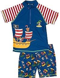 Playshoes Jungen UV-Schutz Bade-Set Pirateninsel, bestehend aus Badeshirt und Badeshorts