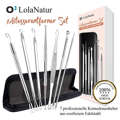 O³ Komedonenheber/Mitesserentferner 7er Set inkl. Etui/Hygienische Behandlung Pickel Mitesser/Deutsche Gebrauchsanweisung/Blackhead remover/Ausdrücken Werkzeug