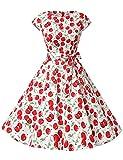 Dressystar Damen Vintage 51er Cap Sleeves Dot Einfarbig Rockabilly Swing Kleider Große Weiße Kirsche A XXL
