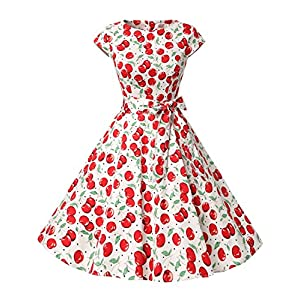Dressystar, vestito a fiori da cocktail party con fascia in vita, stile retrò/rockabilly anni '50 - '60