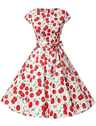 Dressystar Damen Vintage 50er Cap Sleeves Dot Einfarbig Rockabilly Swing Kleider Große Weiße Kirsche A L