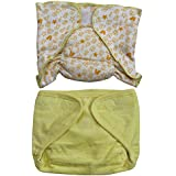 Annapurna Sales 100% Pure Ultra-Soft Cotton New Born Baby Diapers Or Reusable Padded New Born Baby Nappies Combo Pack Of 2 Pcs. - Yellow ( 0 - 6 Months ) !! Skin Friendly And Premium Quality !!