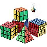 Ensemble de Six Awesome Magic Cubes incl. Pyraminx, 2x2, 3x3, 4x4, 5x5 Puzzle Cube + mini jeu Cube Keychain