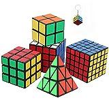 Un insieme di sei impressionante Magic Cubes incl. Pyraminx, 2x2, 3x3, 4x4, 5x5 Cubo di Rubik + Mini Game Cube portachiavi