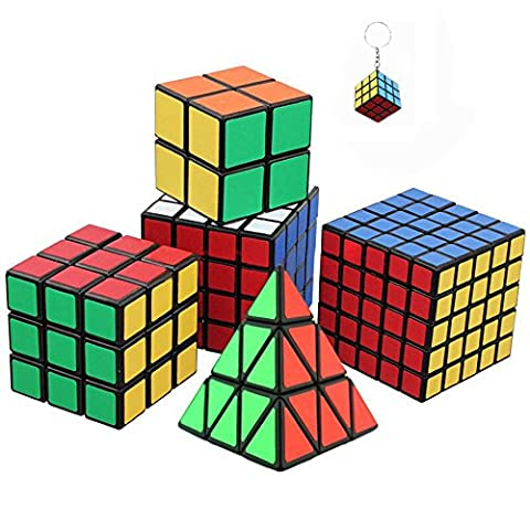 Ensemble de Six Awesome Magic Cubes incl. Pyraminx, 2x2, 3x3, 4x4, 5x5 Puzzle Cube + mini jeu Cube Keychain