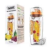 Coolstuffx 3-in-1 Fruit Infuser + Sportwasserflasche + Protein Shaker. langem Infuser + 1 Liter + Motivation Zeitmarkierung, BPA-frei, Auslaufsicher. Anti-Kondensationshülse, kostenlose Ebook Rezepte