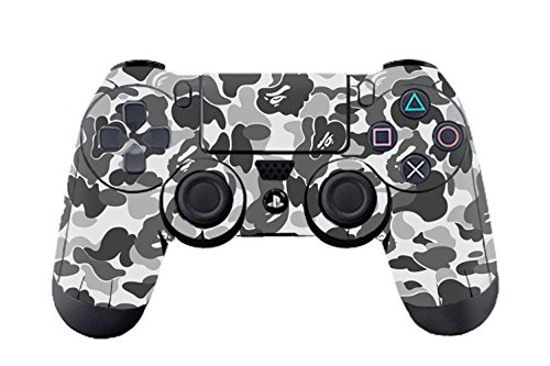 Camouflage Aufkleber Sticker Skin Set für Sony PlayStation4 Wireless Controller (Grey Graffiti) (Camouflage Flagge)