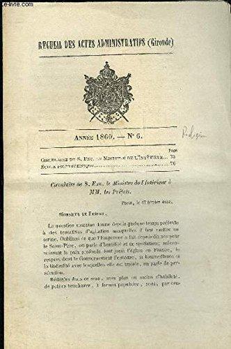 RECUEIL DES ACTES ADMINISTRATIFS (GIRONDE) N°6 - CIRCULAIRE DE S;EXC; LE MINISTERE DE L'INTERIEUR - ECOLE POLYTECHNIQUE
