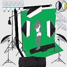 HWAMART® 5x150W Portraint estudio fotográfico profesional 2x3 iluminación continua Antecedentes Meter ayuda del soporte del kit con pantalla Fondos Foto Telón de fondo Todo en 1 Fotografía conjunto que lleva el bolso con calidad Negro / Blanco / Fondo Verde (5x150W)