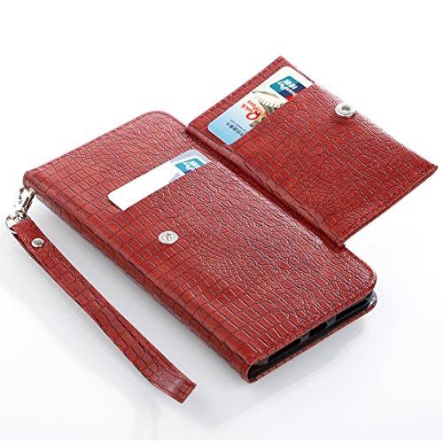 iPhone 7 Plus Hülle, [Crocodile Pattern] PU Handschlaufe Flip Wallet Cover Etui in Book Style Stand Case Card Slot Leder Tasche Case Karteneinschub Magnetverschluß Kratzfestes und Schmutzunempfindlich rot