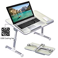 Folding Laptop Table Computer Desk Stand with USB Cooling Fan Adjustable Angle Height Portable for Bed Couch Floor