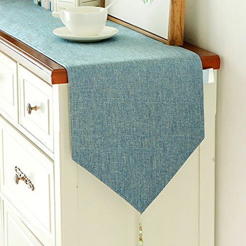 YXX- Moderne Simple Couleur Solide Table Runner American Bar À Manger Shoebox TV Cabinet Table Basse Nappe Couverture Serviette ( Couleur : Lake blue , taille : 30*240cm(Double tier) )