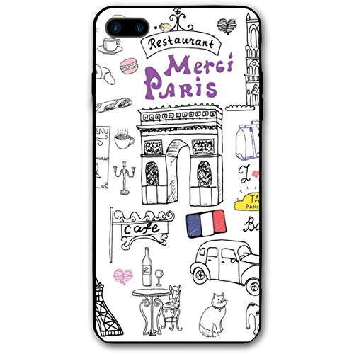 ZZHOO Compatible with iPhone 7/8 Plus Case, Paris Culture In Doodle Style Drawing Eiffel Tower Beret Croissant Blue Cheese Taxi,Rubber Anti-Scratch Shock Absorption Protective Phone Cover (Tower Drawing-easy Eiffel)