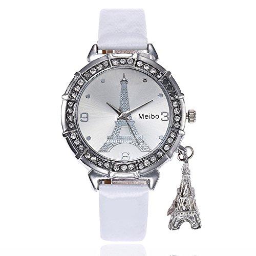 New Trend! Classic Damen Analoge Quarz Armbanduhr, Frauen Mädchen Mode Der Eiffelturm Strass Anhänger Quarzuhr Elegant Lässige Leder Band 2019 LEEDY