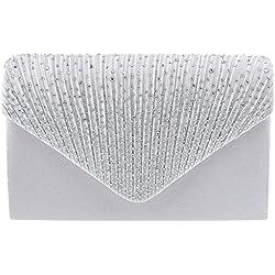 Bolso Blanco Boda - lentejuelas en la solapa