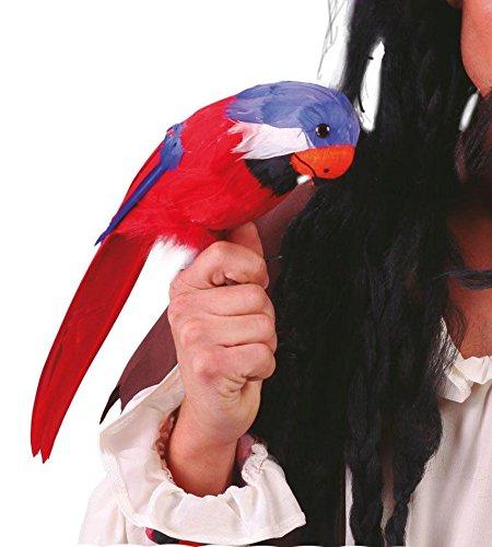 DEKO - PAPAGEI - mit Bänder, 40 cm, Karibik Piraten Pirtatenparty Seeräuber