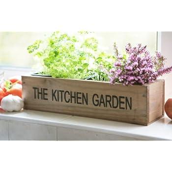 Kitchen Herb Garden Kit Windowsill Window Box Planter with Seeds