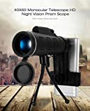 #2: 40X60 Zoom Monocular Telescope Scope for Smartphone Camera Camping Hiking Fishing with Compass Phone Clip Tripod Telescopes