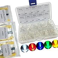 Electronic 5 mm 3 mm e trasparente, diodi ad emissione luminosa LED, 5 colori con 315 adesivi in schiuma, 1/4 W, tolleranza 1% , resistori in Film metallico - 0,25 Adesivo
